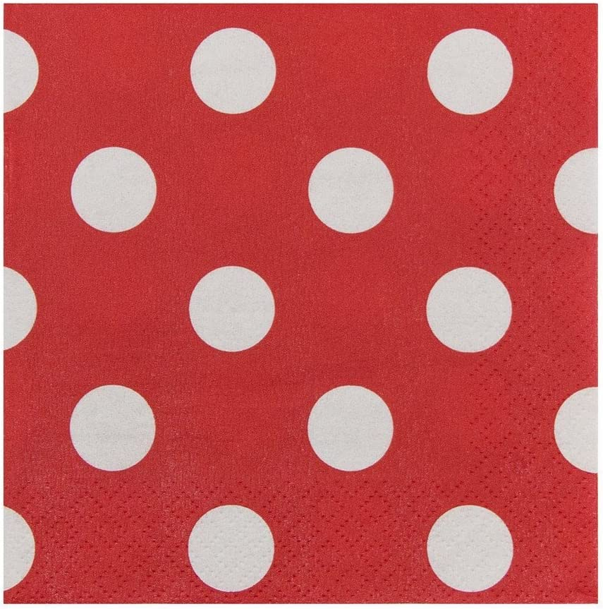 JAM PAPER Small Polka Dot Beverage Napkins - 5 x 5 - Red with Polka Dots - 16/Pack
