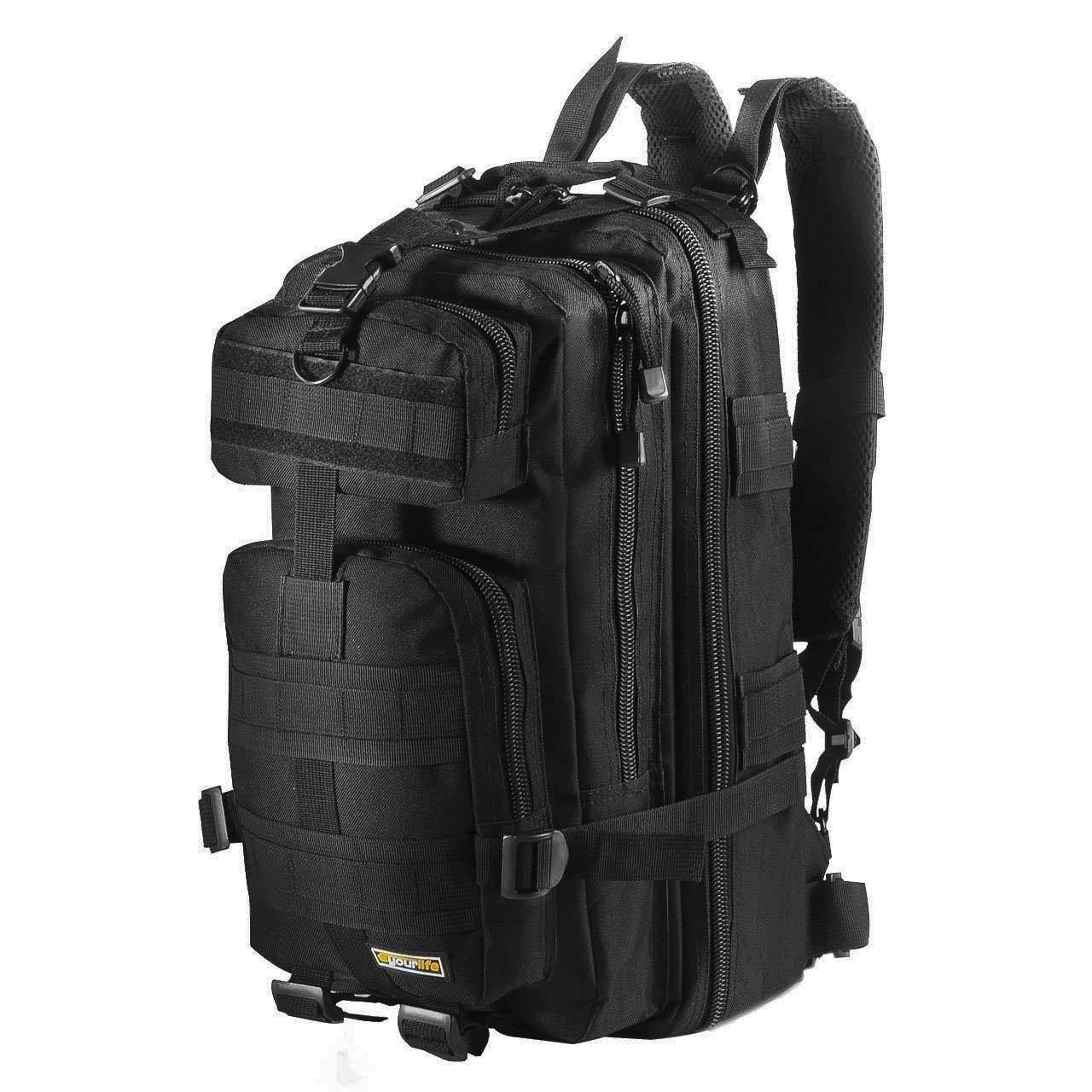 Eyourlife Mochila Militar Táctica Molle para Acampada Camping Senderismo Deporte Backpack de Asalto Patrulla para Hombre Mujer Negro 20L