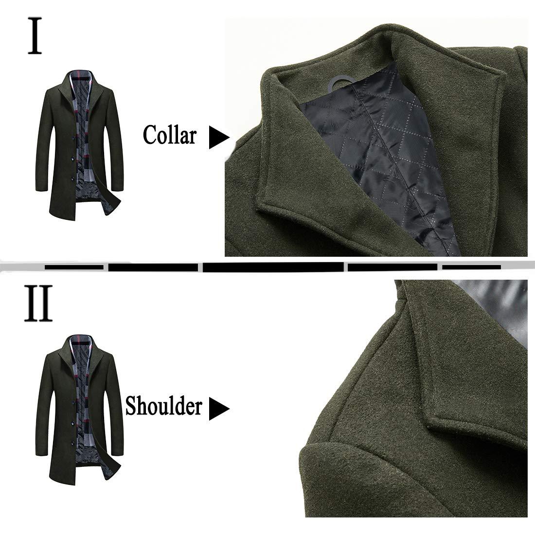 APTRO Mens Wool Blend Trench Coat Full Length Overcoat Fleece Lining Top Coat