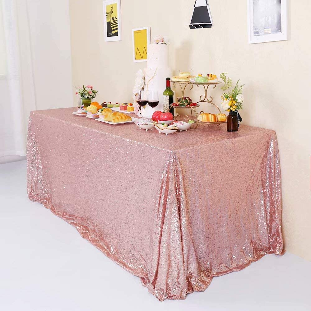 GFCC Rose Gold Sequin Tablecloth Sequin Table Cover Rectangle 60 x 80 Inch Glitter Party Wedding Brithday Christmas Shiny Cake Table Cloth