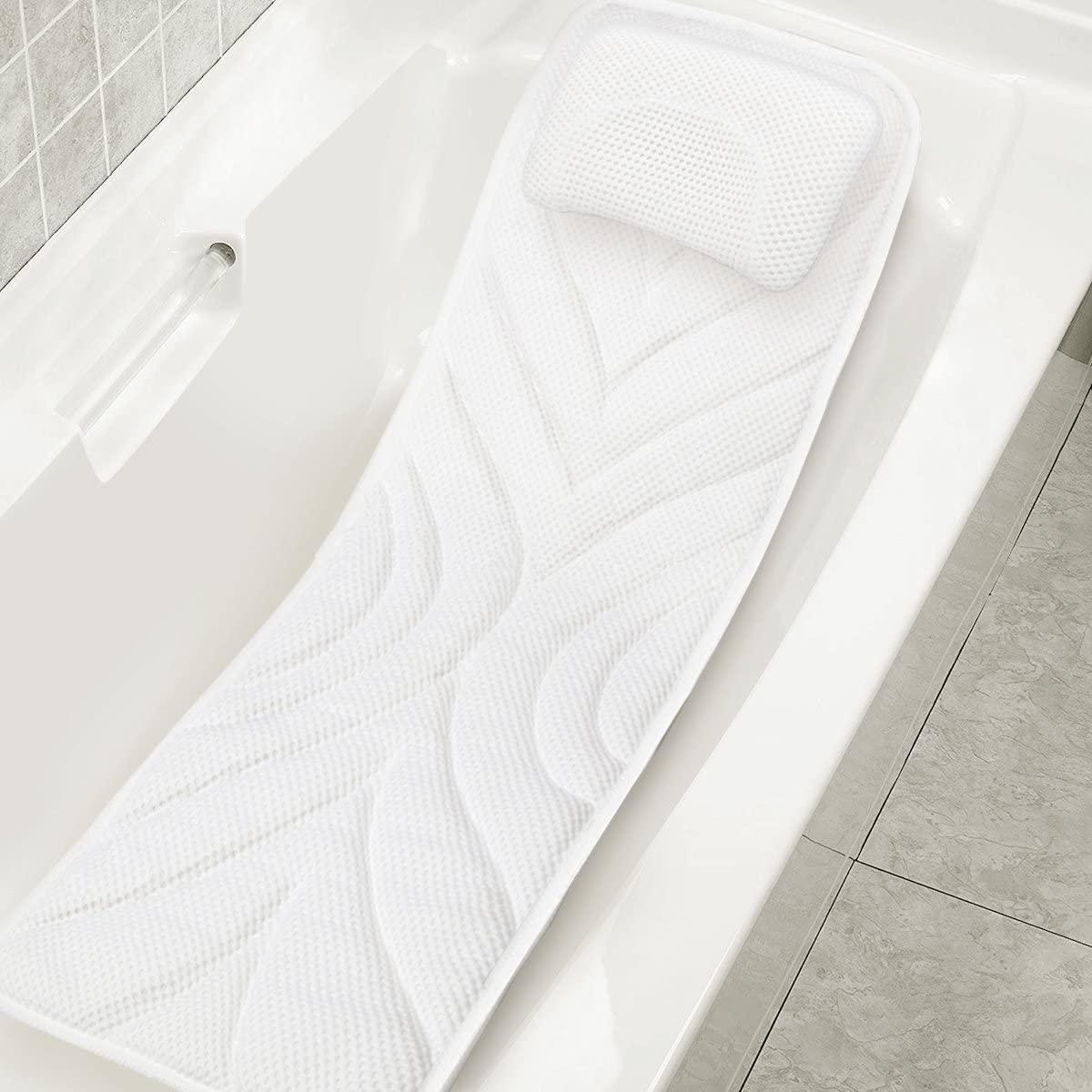 wosume Coussin de matelas pour matelas de bain spa corps complet tapis de bain matelass/é doux avec appui-t/ête respirant et confortable ventouses antid/érapantes