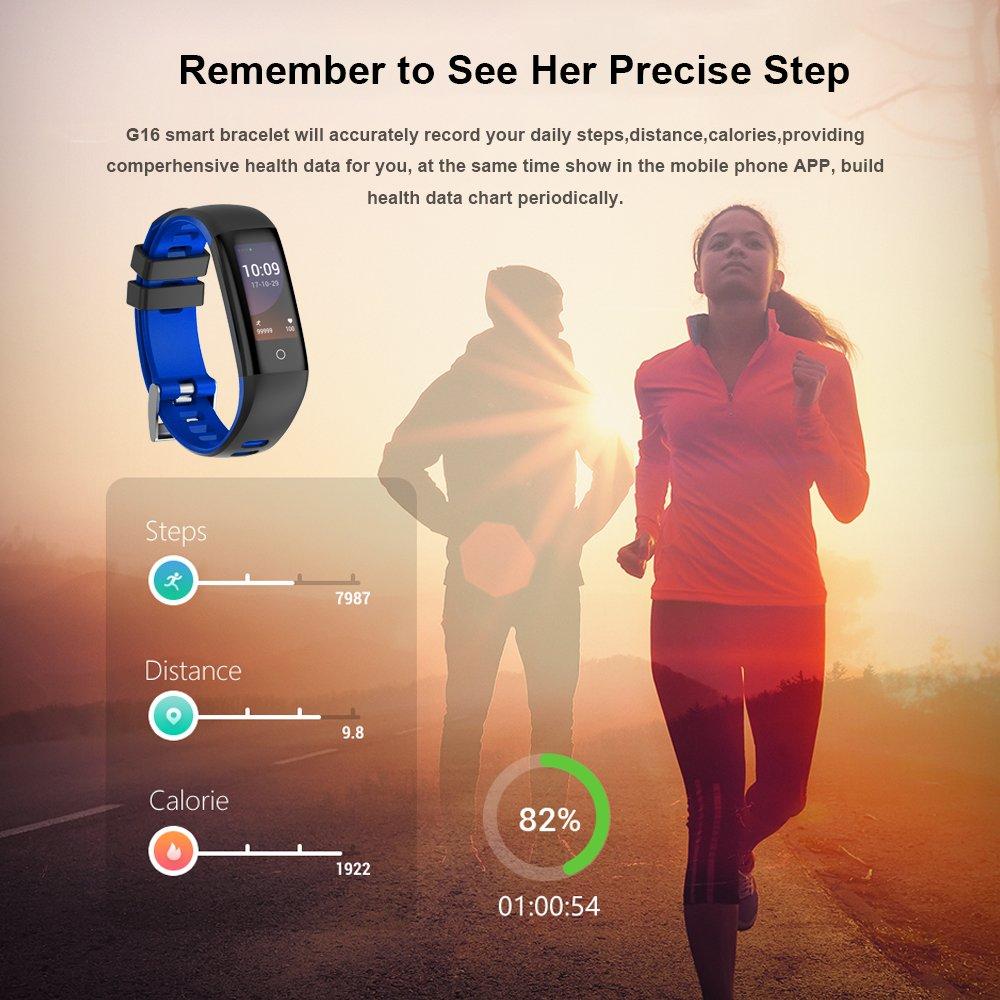 Pulsera Actividad, Pulsera Inteligente Reloj Deportivo Inteligente Pantalla a Color con Monitor de Frecuencia Cardíaca, Podómetro, Contador de Calorías, ...