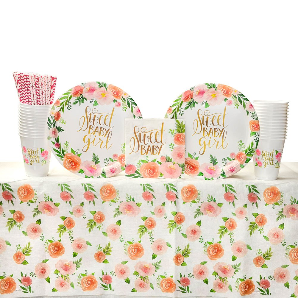Luncheon Napkins Floral Baby Party Supplies Pack for 16 Guests: Straws and Cups Amscan 22765 Dinner Plates Table Cover