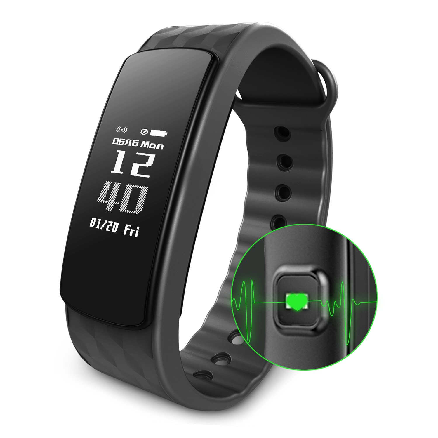 Fitness Activity Tracker, Smart Watch Band Heart Rate Monitor Wireless Waterproof IP67 Bracelet HR Wristband Pedometer Track Steps Sleep for IOS & Android Smartphone