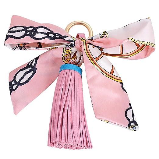 BIGBOBA 1 × Silk Bow Llavero Piel Borla Colgante para ...