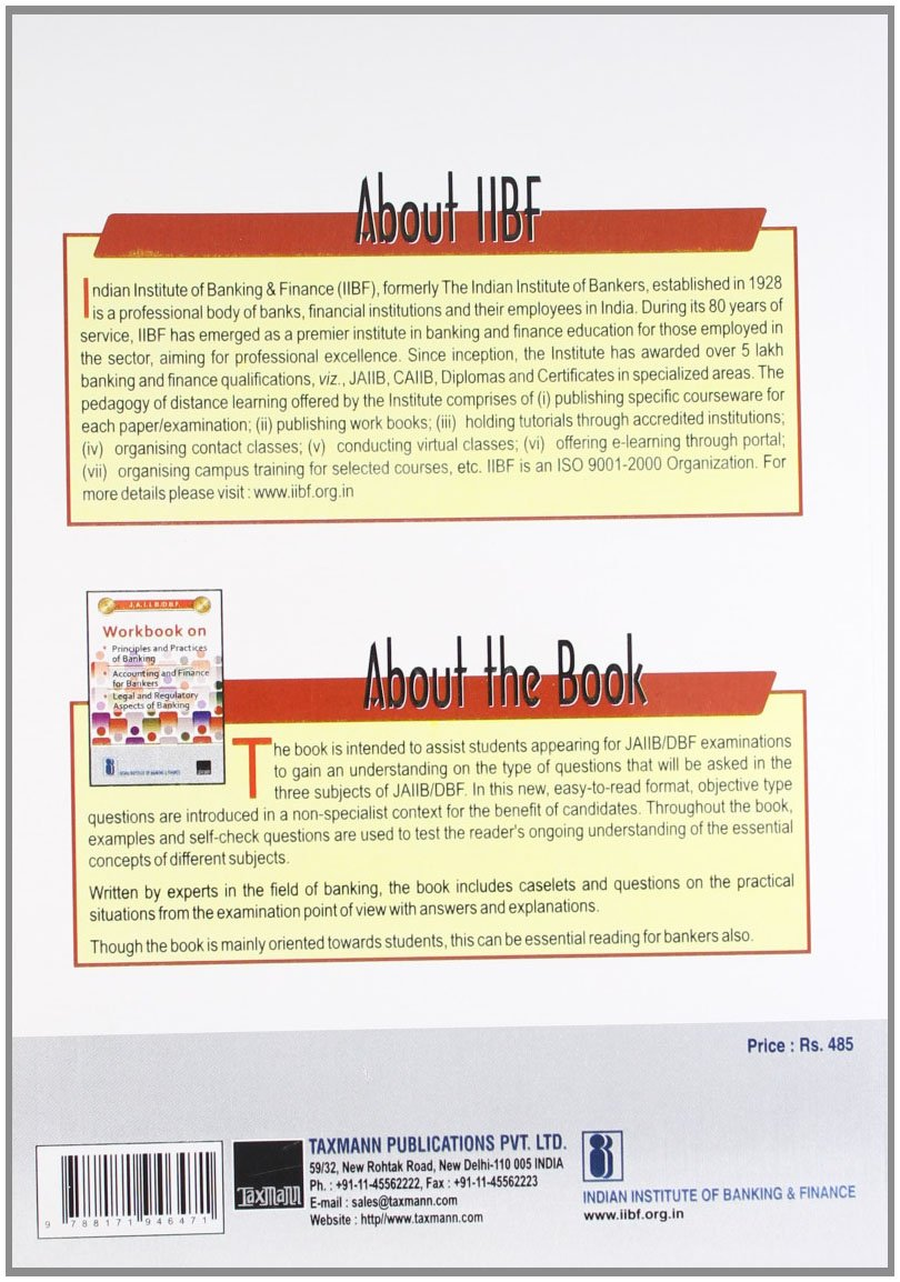 Workbooks jaiib workbook : J.A.I.I.B./D.B.F. Workbook On Principles and Practices of Banking ...