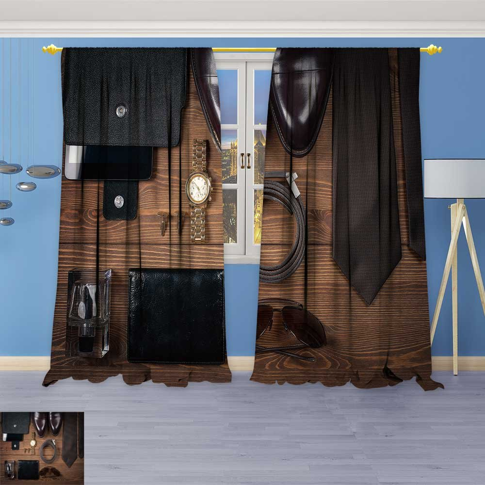 SOCOMIMI Blackout Curtains Thickening Polyester,Wood Texture Men s Everyday Objects on a Background Meet Accessories Thermal Insulated Grommet for Living Room, 96W x 96L inch