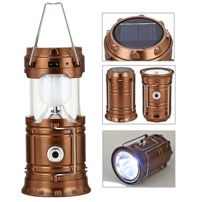 GAXmi Solar Camping Lantern Rechargeable Emergency Light Portable Collapsible LED Flashlight (Bronze)
