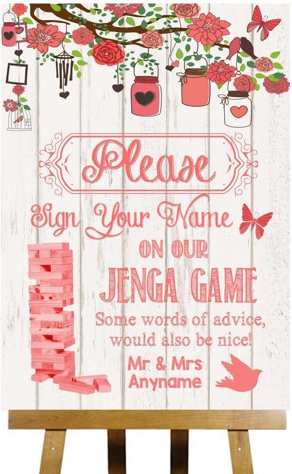 Coral rústico madera Collection juego de Jenga mensaje personalizado impreso tarjeta boda señal, Small A5: Amazon.es: Oficina y papelería