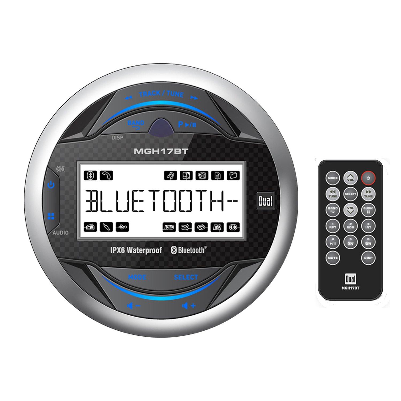 Dual Gauge Hole Mount MP3 USB Bluetooth Receiver With Enrock Marine Dual 6.5 Inch Weather Resistant Marine Speakers 60 Watts Peak Pair & Enrock Rubber Mast Marine Boat Yacht AM/FM Radio Antenna-White by DualMarineBundle (Image #2)