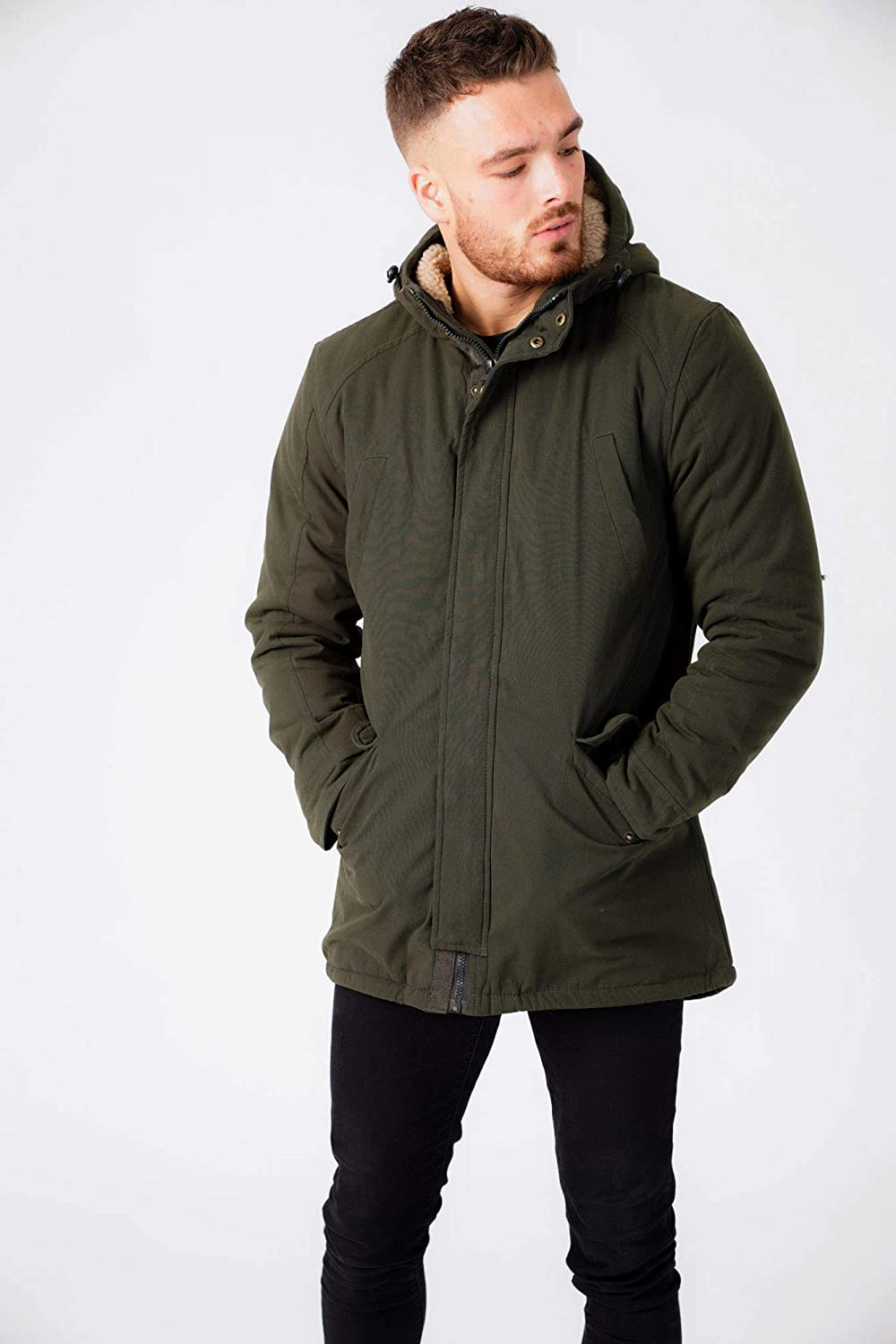 Tokyo Laundry Mens Welker Borg Lined Hooded Fishtail Parka Coat
