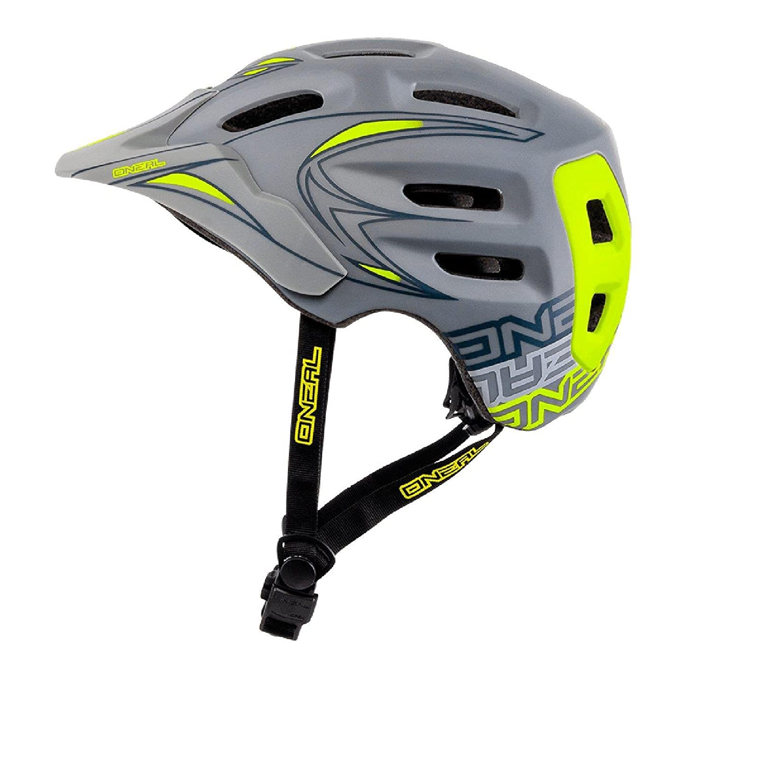 O& 039;Neal Defender Tribal Helm All Mountain Grau Gelb All Mountain Enduro Trail MTB Fahrrad, 0502D-60