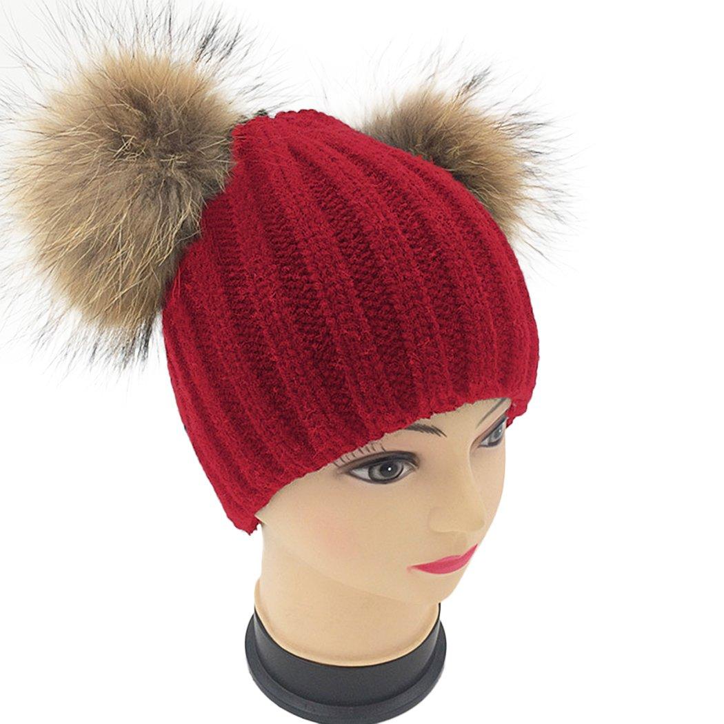 5e36922ef Raylans Women Winter Warm Soft Real Raccoon Fur Double Pom Pom Knit ...