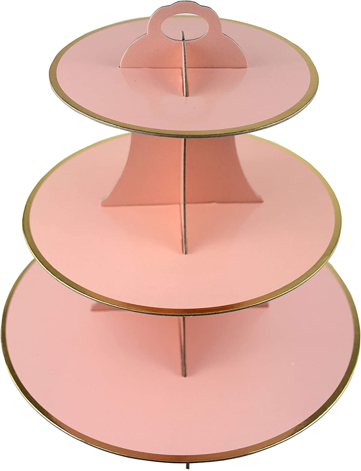 3-Tier Cardboard Cupcake Stand/Tower 1-Set (Pink)