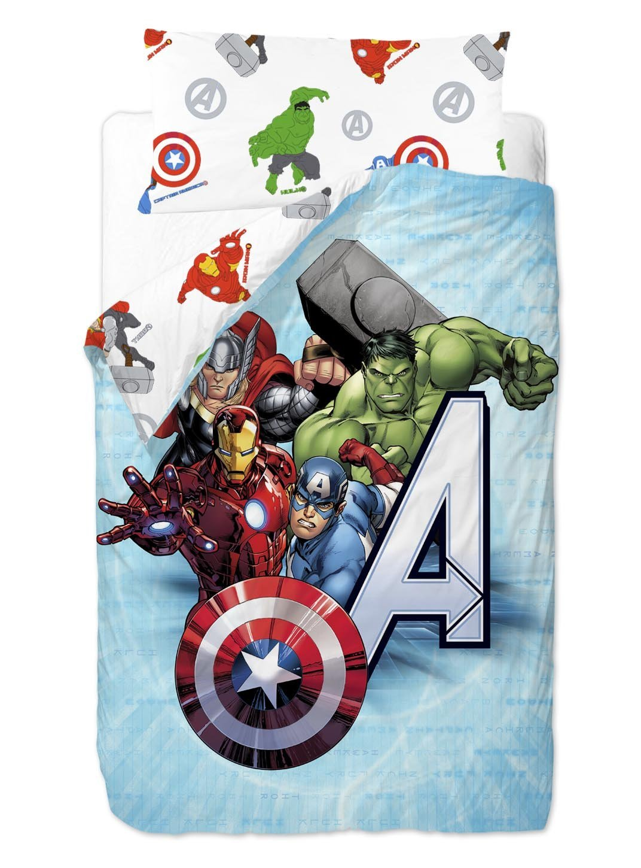 Marvel Vengadores Saco nórdico de 2 Piezas para Cama de 90 cm Mezcla De Algodón, 25x90x190 cm: Amazon.es: Hogar