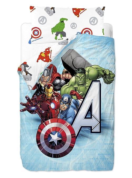 Marvel Vengadores Saco nórdico de 2 Piezas para Cama de 90 cm Mezcla De Algodón,
