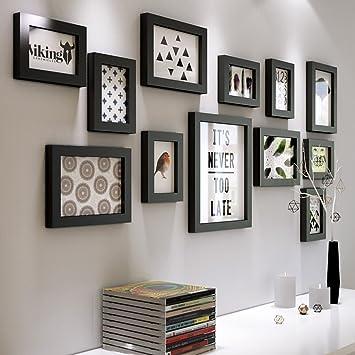 DENGJU Bilderrahmen Schwarz-Weiß-Massivholz Fotowand Wohnzimmer  Schlafzimmer Bilderrahmen Wandrahmen Wandrahmen Kreative Kombinationen  Moderne ...