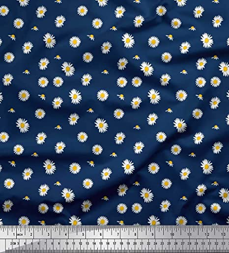 Soimoi Azul popelina de algodon Tela Margarita tela de camisa tela estampada de 1 metro 42 Pulgadas de ancho: Amazon.es: Hogar