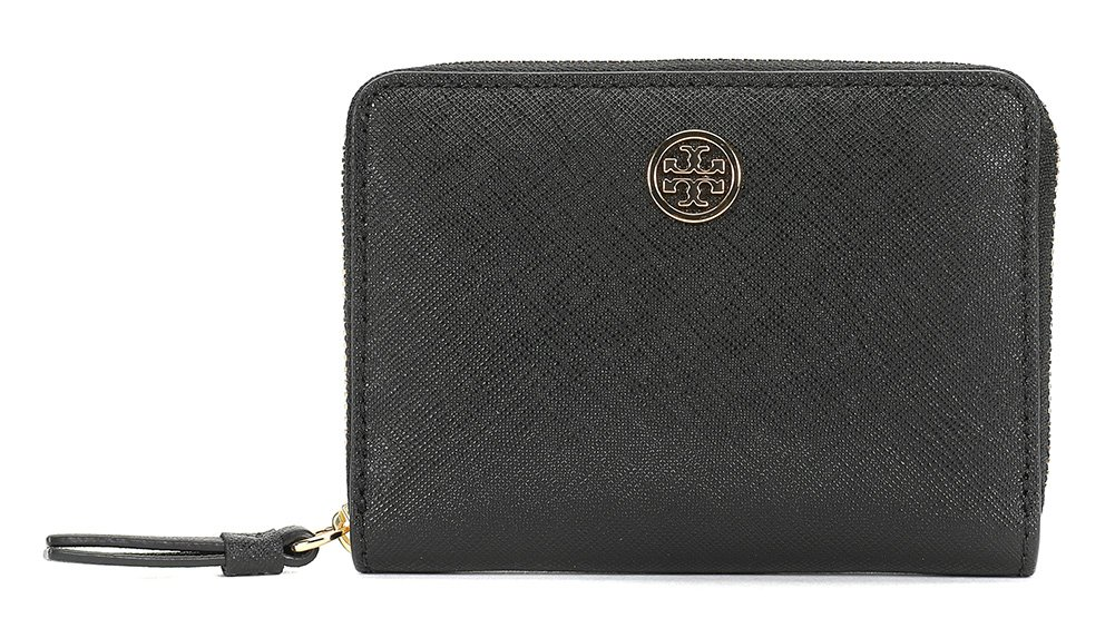 Tory Burch Women's Robinson Zip Coin Case, Black/Navy, One Size by Tory Burch