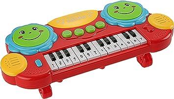 Smibie Piano Eléctrico Juguete de Teclado 14 Teclas con Luces Iluminación Juguete Educativo de Instrumentos Musicales Niños, Rojo