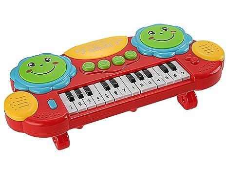 Smibie Piano Eléctrico Juguete de Teclado 14 Teclas con Luces Iluminación Juguete Educativo de Instrumentos Musicales