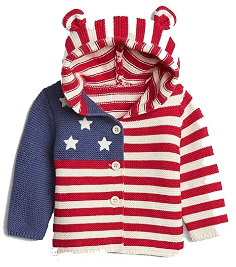 f73f2ceb1 Amazon.com  BabyGap Stars   Stripes Flag Bear Hoodie Sweater 0-3 ...