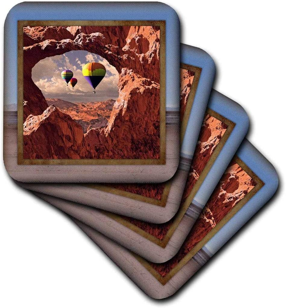 3dRose CST_41300_3 Hot Air Balloons in The Southwest Ceramic Tile Coasters, Set of 4