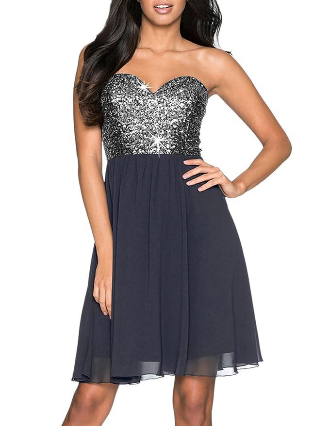Azbro Mujer Vestido de Coctel A-línea Lentejuelas sin Tirantes Escote Corazón Dulce, gris XL: Amazon.es: Ropa y accesorios