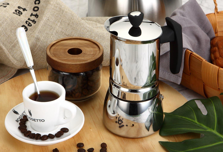 para cualquier fuego 10 tasses incluido inducci/ón; en acero inoxidable con asa negra ROSSETTO Cafetera italiana