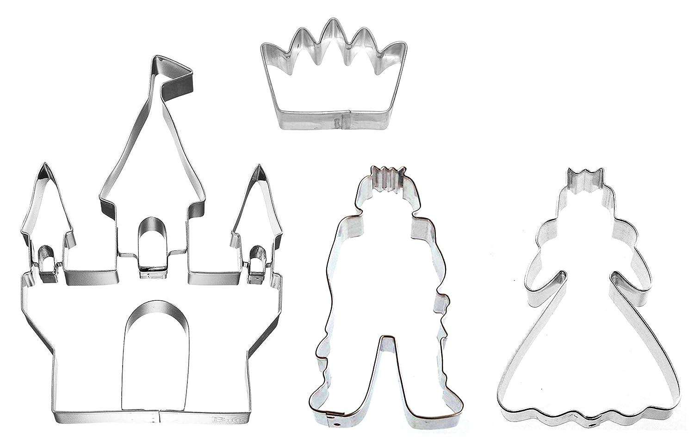 Caleidolex Juego de 4 moldes para Galletas, diseño de Princesa con Corona y Castillo: Amazon.es: Juguetes y juegos
