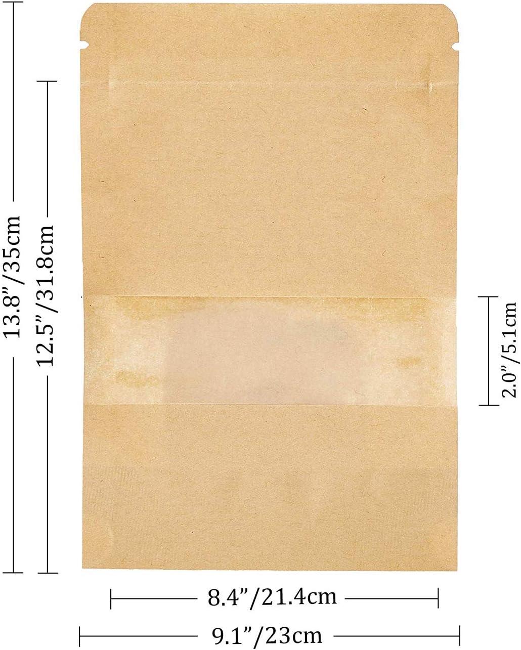 meridy 100Pcs Sacchetto di Carta Kraft Autosigillante Marrone Stand Up con Finestra Trasparente Zipper con Chiusura Sacchetti Usato per Conservare Il Cibo Pane Chicchi di caff/è Noccioline Snack9*14cm
