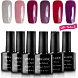 Gellen 6 Popular Colors UV Gel Nail Polish Kit, Soak Off Nail Art Manicure Gift Set