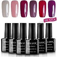 Gellen 6 Popular Colors UV Gel Nail Polish Kit, Soak Off Nail Art Manicure Gift Set
