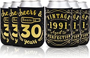 Cheers & Beers to 30 Years Can Sleeves Vintage 1991 30th Birthday Party Favor Decorations Supplies Can Cover Beer Sleeves Black and Gold Neoprene Sleeves for Soda Beer Can Beverage Set of 12