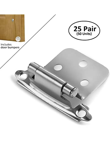 Hosom Overlay Cabinet Hinges Black 50pcs with Door Bumpers Self Closing Hinge Face Mount for Kitchen Cupboard