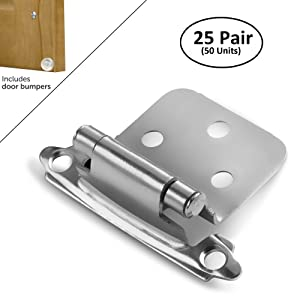 Berlin Modisch Overlay Cabinet Hinge 25 Pair (50 Units) Self-Closing Decorative, Face Mount, for Variable Overlay Kitchen Cabinet Doors Satin Nickel Finish, with Sound Dampening Door Bumpers