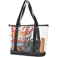 59df15dfdc68 Bags for Less Large Clear Vinyl Tote Bags Shoulder Handbag (Black)