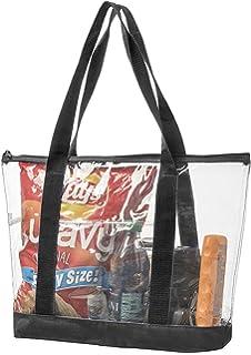 07fc16c6424ad Bags for Less Large Clear Vinyl Tote Bags Shoulder Handbag (Black)