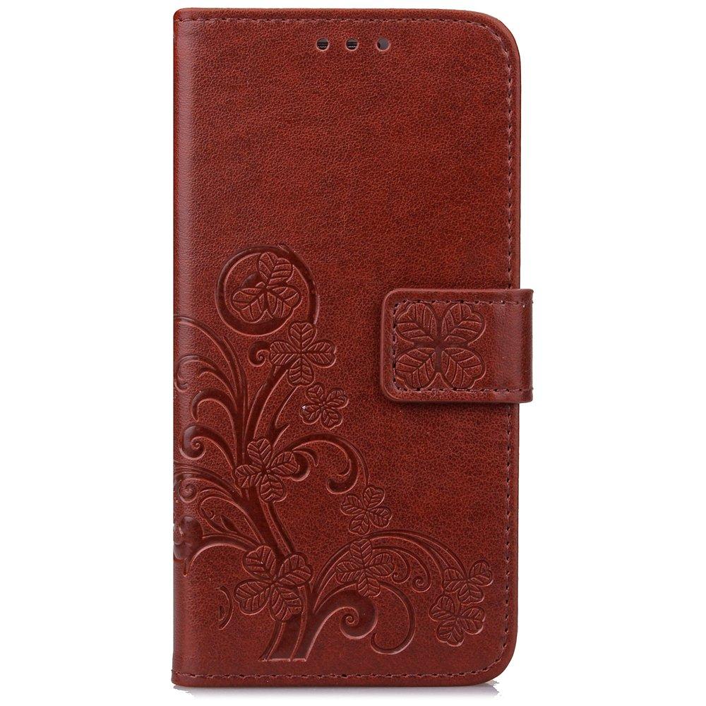 ISAKEN Custodia Cover per Samsung Galaxy Core Prime G530, Elegant PU Pelle Cover Flip Portafoglio Protezione Wallet Caso con Supporto di Stand/Strap /Carte Slot/Chiusura - Fiori: Grigio FASNO010046