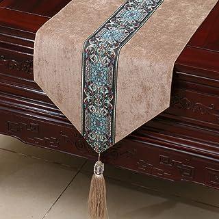 LINGZHIGAN Khaki Fiore Pattern Cloth Tavolo Corridore Moderno Semplice Salone Upscale Cucina Ristorante Hotel Tessuti casa (Questo prodotto solo vende corridore da tavolo) 33 * 200cm