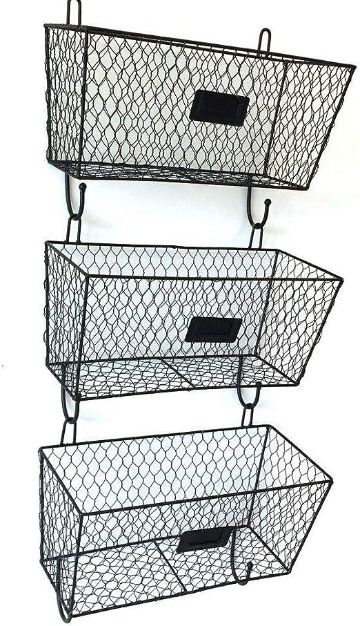 3pcs Wire Letter Mail Mount Metal Rack Basket Vintage Triple Organizer Black