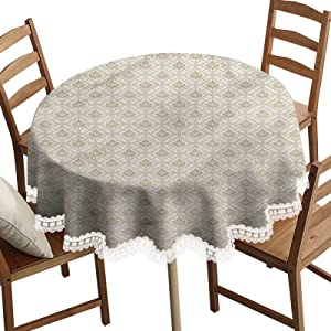 SoSung Damask Decorative Round Table Cloth,Ornamental Squares Lines Washable Polyester Lace Edge Table Covers, Diameter 42 Inch, for Birthday Parties, Weddings, Dining Room Tables