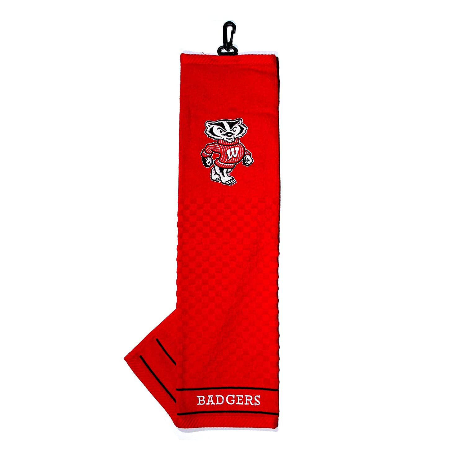 Team Golf NCAA Wisconsin Badgers Embroidered Golf Towel Checkered Scrubber Design Embroidered Logo