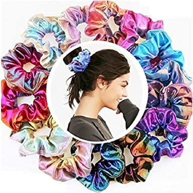 etuoji New Creative Elastic Gradient Color Hair Ring Ponytail Hairband Headwear