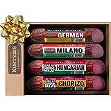 Taste of Europe Gourmet Salami Gift Box - Hungarian, Chorizo, Milano, German, Salami Sticks For Charcuterie Boards, Gift Bask