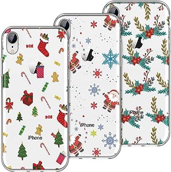 KOTPARX Funda para iPhone XR, Christmas Navidad Carcasa Transparente Funda de Silicona Suave TPU Ultra Fina Delgado Case con Dibujo Animados Anti-Arañazos Caso Cover [3 Pack]: Amazon.es: Electrónica
