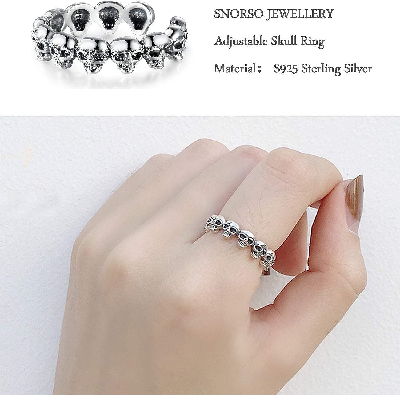 Argento sterling 925/Snorso regolabile impilabile MIDI Halloween Ghost Skull Ring
