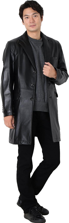 シープスキン ラムレザー チェスター コート メンズ 羊革 ヒツジ革 ラム革 B00VJD6L8M L|ブラック ブラック L