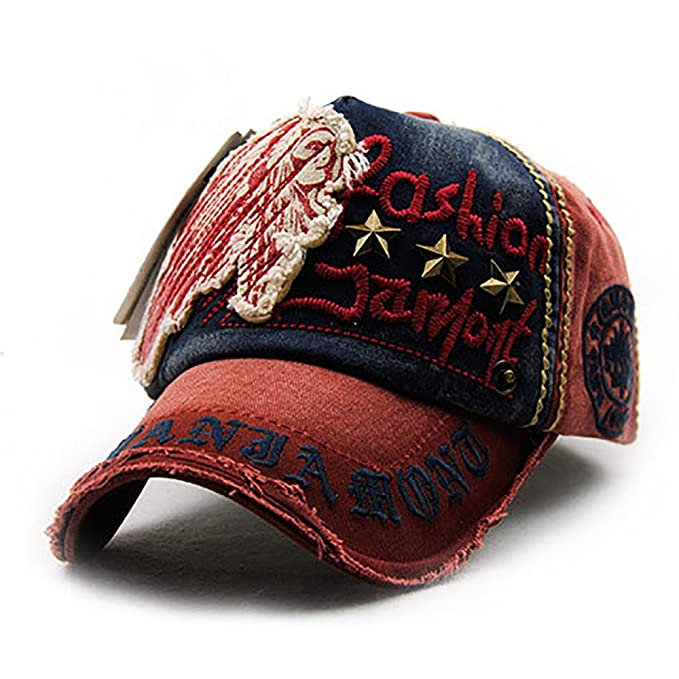Baseball Cap Topee-Women Embroidered Flower Denim Cap Fashion-Washed Cotton Dad Hat Low Profile Snapback Adjustable (A) at Amazon Womens Clothing store: