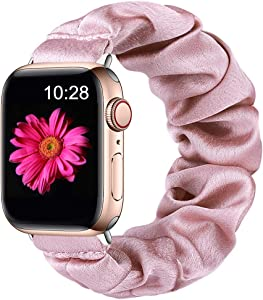 Easuny Compatible with Apple Watch Band 38mm 40mm Soft Scrunchie Cloth Elastic iWatch Bands Womens Girls for Apple Watch Series 6/5/4/SE/3/2/1, Rose Pink S